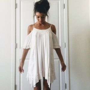 Cream Colored Off The Shoulder Dress